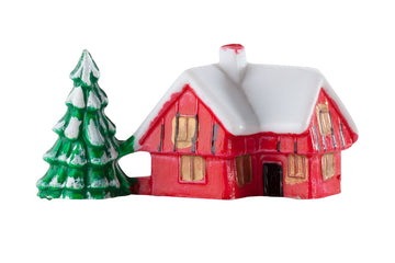 Christmas Cake Topper Red House with Tree