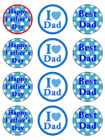 I Love Dad Best Dad Fathers Day Blue Edible Printed CupCake Toppers Icing Sheet of 12 Toppers