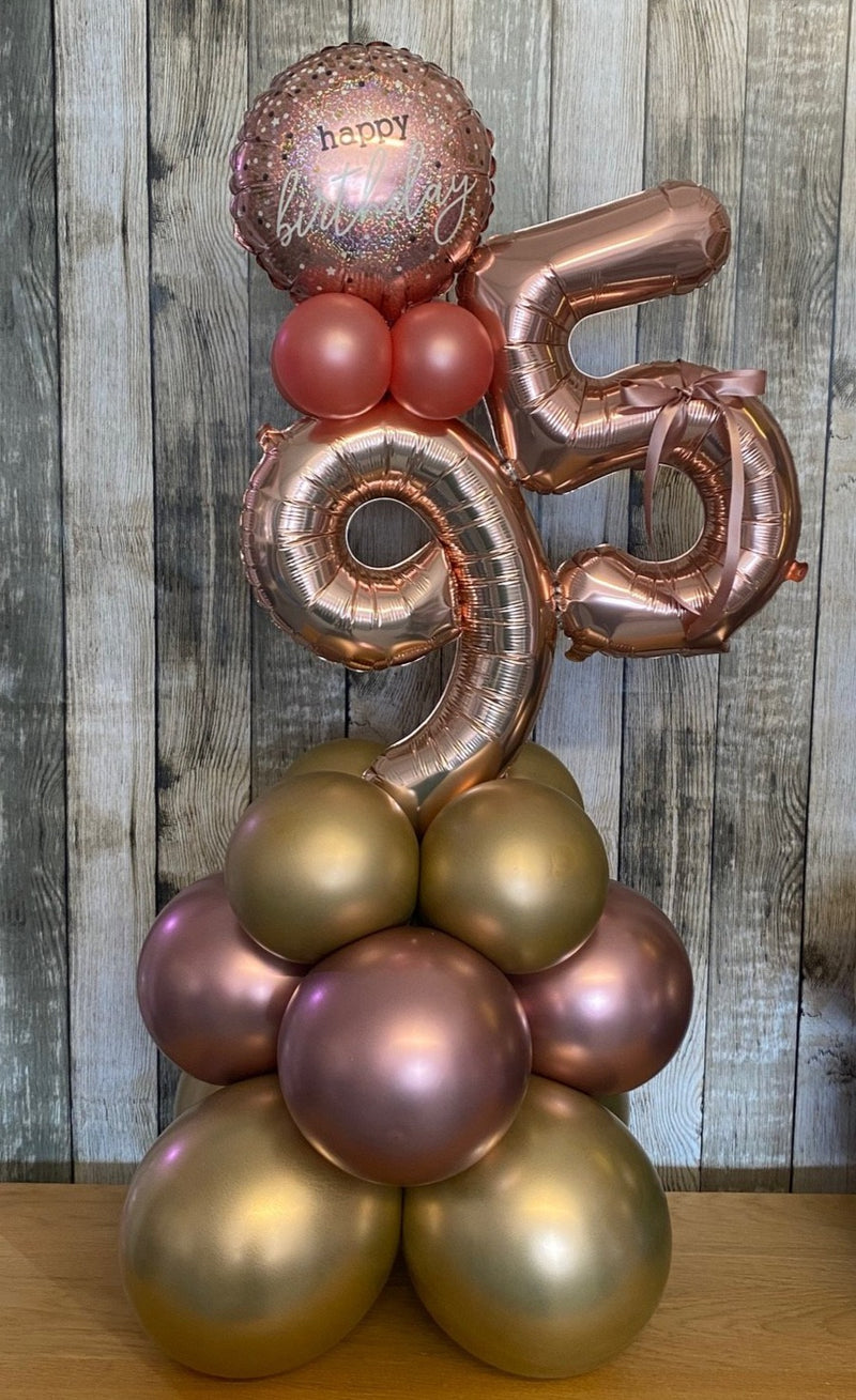 Table Top Double Number Balloon Tower - Rose Gold & Gold Happy Birthday - COLLECTION FROM STORE ONLY - The Cooks Cupboard Ltd