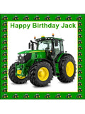 John Deere Green tractor Personalised Edible Cake Topper Square Icing Sheet