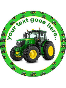 John Deere tractor green farming farm Personalised Edible Cake Topper Round Icing Sheet
