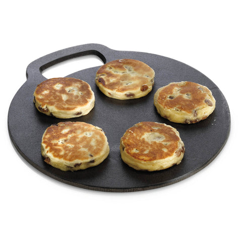 KitchenCraft Cast Iron 27cm Black Steel Baking Stone - Ideal for Welsh Cakes