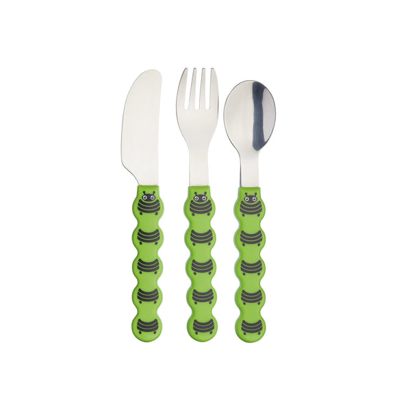 KitchenCraft Kids Three Piece Caterpillar Cutlery Set