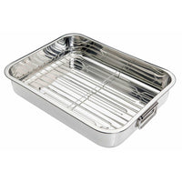 KitchenCraft Stainless Steel 38cm x 27.5cm Roasting Pan with Removable Rack