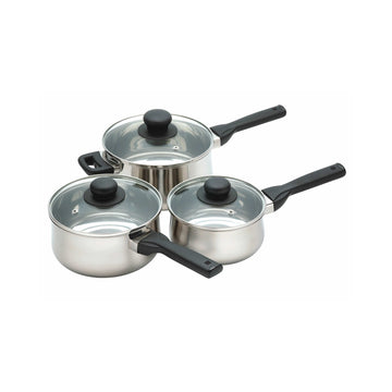 Jury Steel Three Piece Saucepan Set