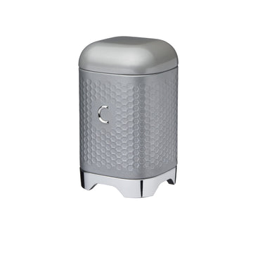 Lovello Retro Coffee Canister with Geometric Textured Finish - Shadow Grey