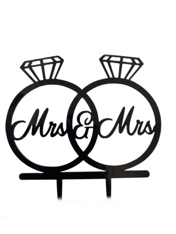Mrs & Mrs Black Acrylic Wedding / Engagement Cake Topper