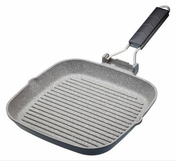 MasterClass Cast Aluminium 24cm Grill Pan Frying Pan