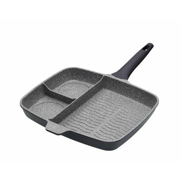 MasterClass Cast Aluminium Three Section Grill Pan Frying Pan