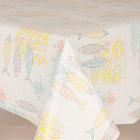 Fish Mustard PVC Wipe Clean Vinyl Table Covering / Table Cloth