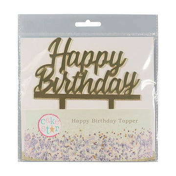 Mirrored Gold Happy Birthday Cake Topper Motto Pic