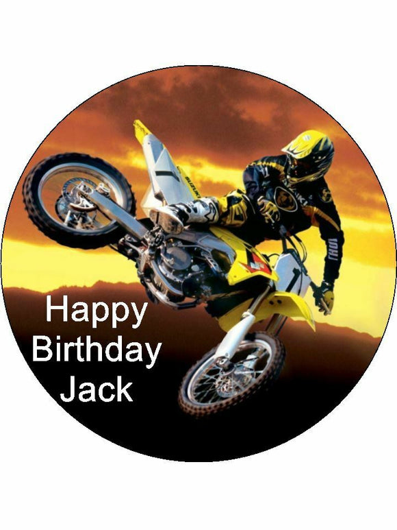 Motorcross dirt bike Personalised Edible Cake Topper Round Icing Sheet
