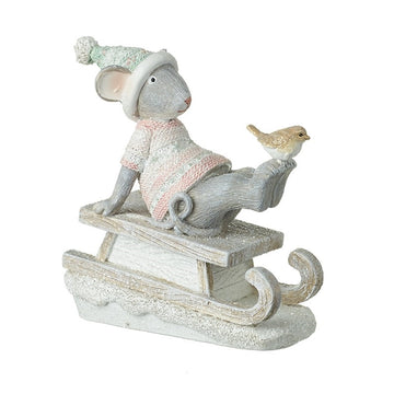 Mouse On Sledge With Bird Festive Soft Pink and Sage Decortion