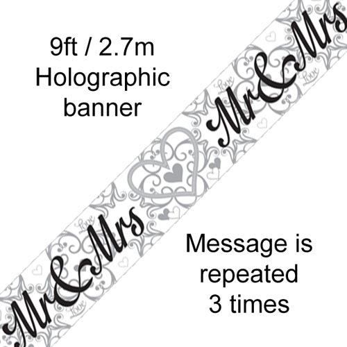 Mr & Mrs Wedding Decoration Just Marries Banner - 2.7m