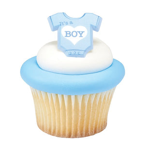 Onesie Its a Boy Plastic Cupcake Decoration Ring - Ideal for Baby Showers - Sold Singly