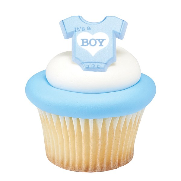Onesie Its a Boy Plastic Cupcake Decoration Ring - Ideal for Baby Showers - Sold Singly - The Cooks Cupboard Ltd