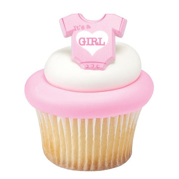 Onesie Its a Girl Plastic Cupcake Decoration Ring - Ideal for Baby Showers - Sold Singly