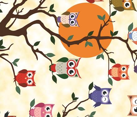 Owls on Tree Twoo PVC Wipe Clean Vinyl Table Covering / Table Cloth - The Cooks Cupboard Ltd
