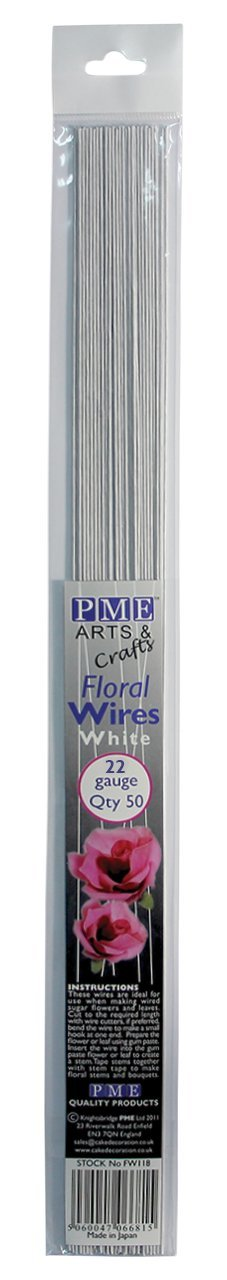 PME White Floral Sugarcraft Wires 22 Gauge