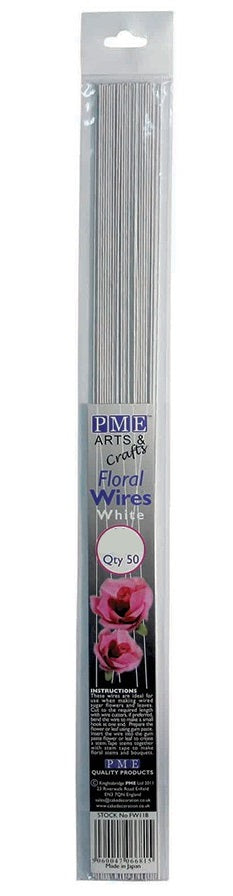 PME White Floral Sugarcraft Wires 28 Gauge