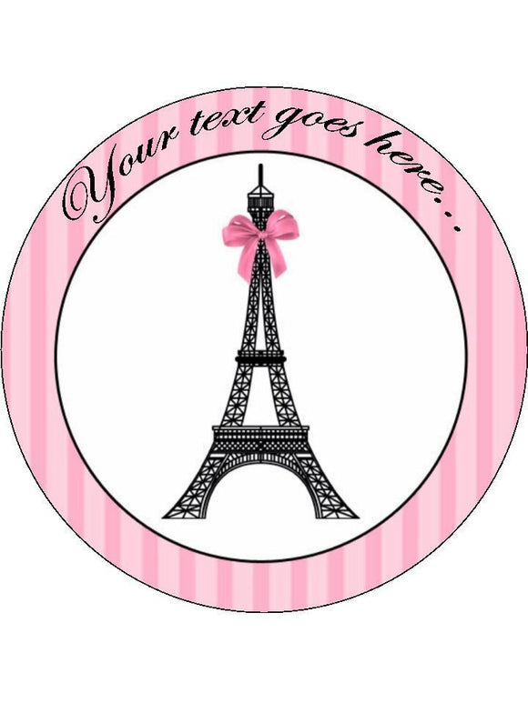 Paris france eiffel tower Personalised Edible Cake Topper Round Icing Sheet