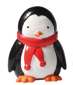 Penguin Plastic Cute Winter Christmas Cake Topper Red Scarf