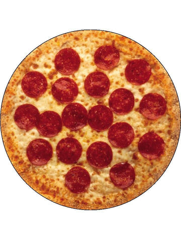 Pepperoni Pizza yummy food Personalised Edible Cake Topper Round Icing Sheet