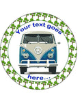 Personalised Blue campervan Personalised Edible Cake Topper Round Icing Sheet
