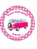 Personalised pink campervan Personalised Edible Cake Topper Round Icing Sheet