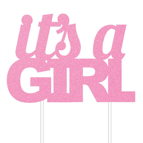 Pink Glitter It's A Girl Cake Topper