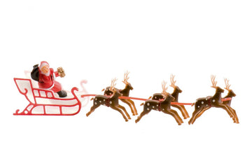 Plastic Santa on Sleigh with Reindeer Christmas Cake Decoration