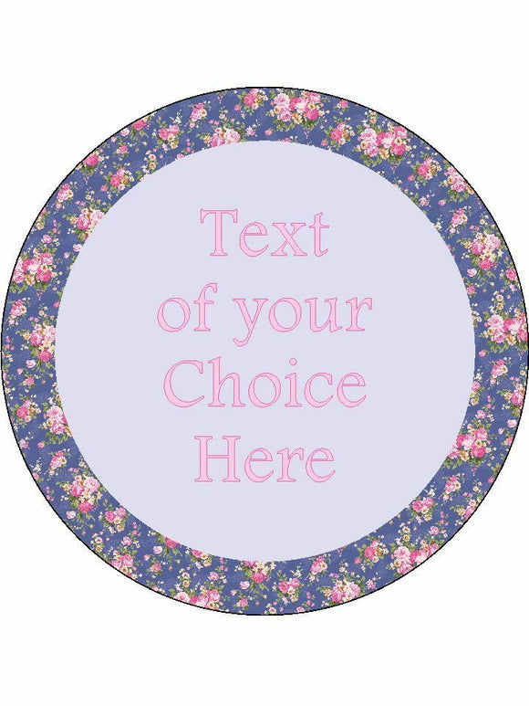Pretty blue pink floral Personalised Edible Cake Topper Round Icing Sheet