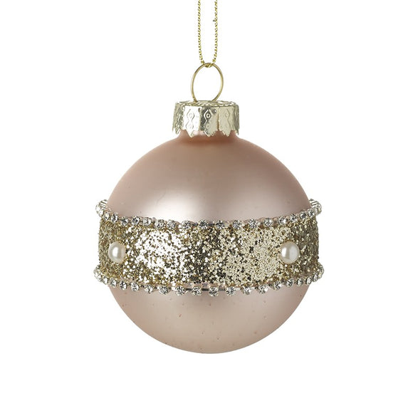 Dusky Pink Glass Bauble Decorated Centre Bling and Pearl Design