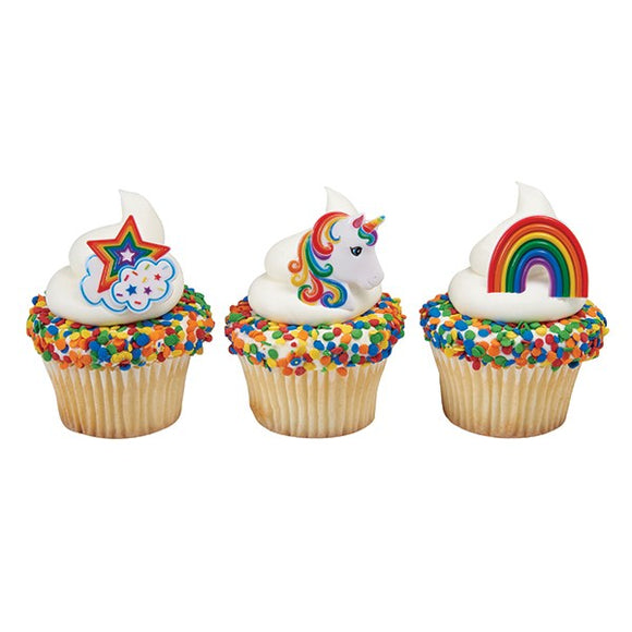 Rainbow & Unicorn Colourful Cupcake Rings - 40mm - 3 designs - Sold Singly