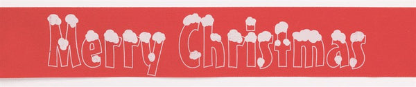 Red Merry Christmas Snowcaps Cake Ribbon - 38mm