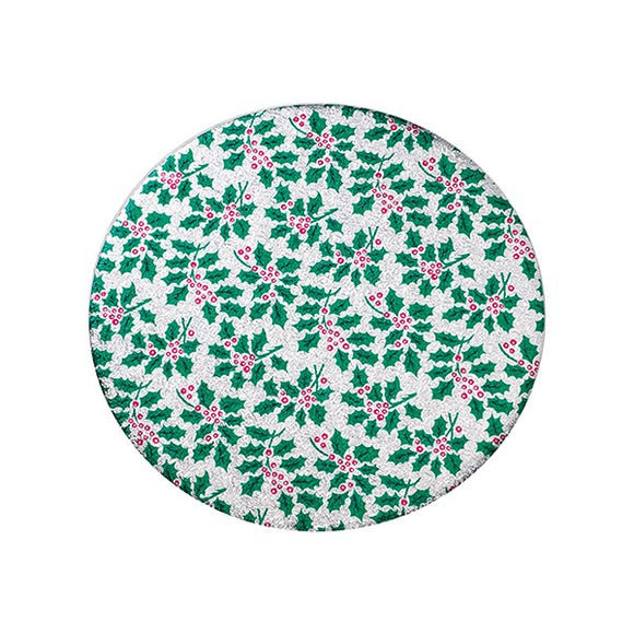 Round Christmas Cake Board Silver with Holly Pattern - 6''