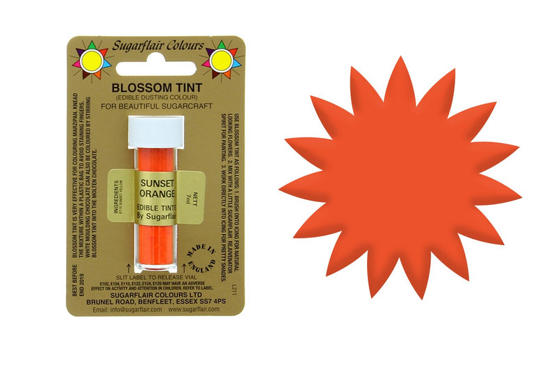 SUGARFLAIR EDIBLE BLOSSOM TINT FOOD COLOUR DUST - SUNSET ORANGE - The Cooks Cupboard Ltd