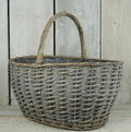 Grey washed Finish Wicker Basket with Handle