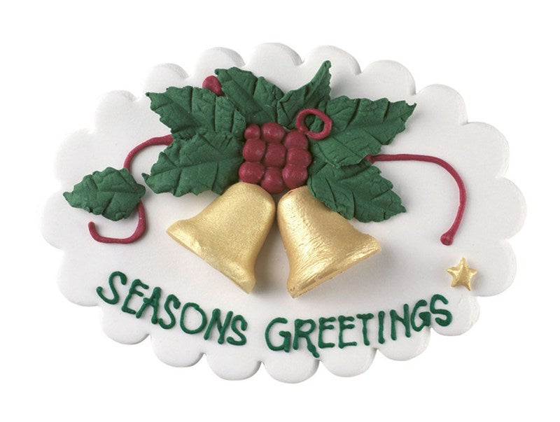 Seasons Greetings Bell Sugar Plaque Christmas Cake Topper - The Cooks Cupboard Ltd