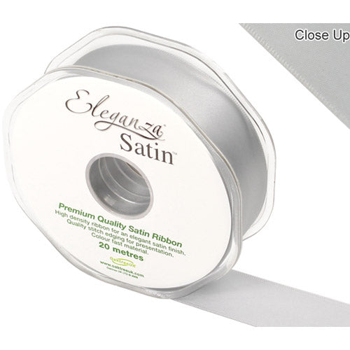 Silver Satin Ribbon - 25mm