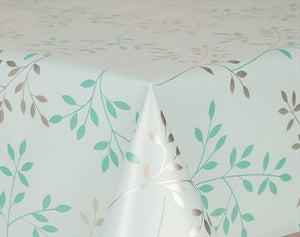 Sprig Aqua PVC Wipe Clean Vinyl Table Covering / Table Cloth