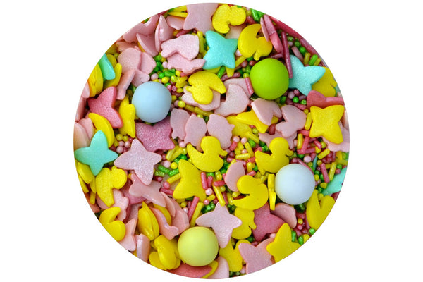 Sprinkletti Edible Sprinkles Cutie Pie - Pastel Ducks, rabbits & Butterflies