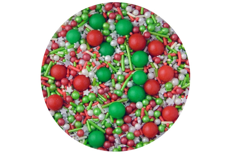 Sprinkletti Edible Sprinkles - Merry Berry Green Red & White Christmas Mix