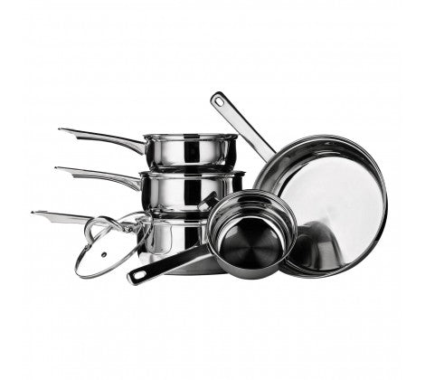 Stainless Steel 5 Piece saucepan Set - The Cooks Cupboard Ltd