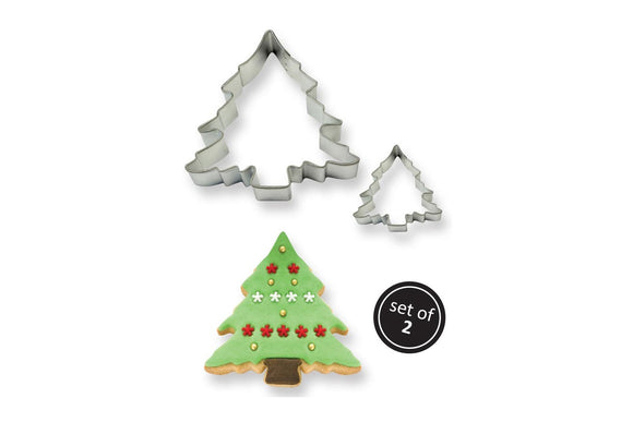 Stainless Steel Cookie Cake Cutter Christmas Tree set of 2 cutters