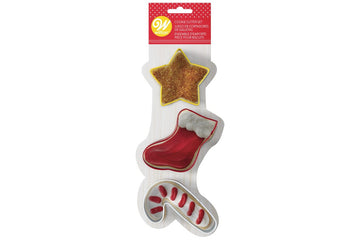 Wilton Star, Stocking & Candy Cane Christmas Cookie Cutter Set