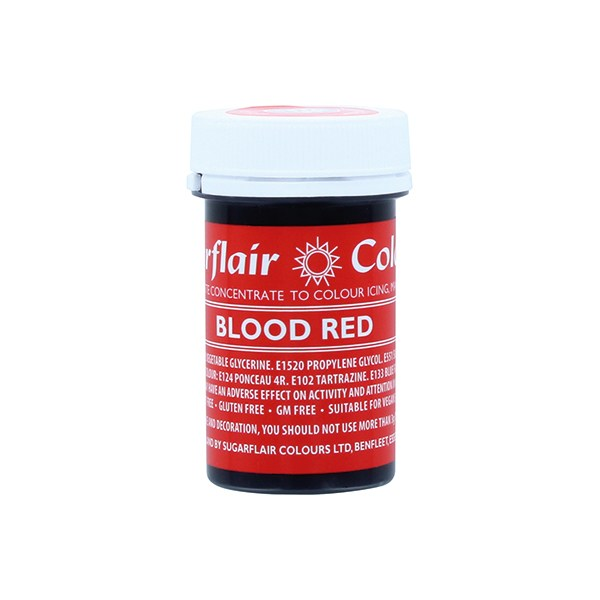 Sugarflair Paste Colours - Blood Red - 25g - Concentrated Edible Food Colouring