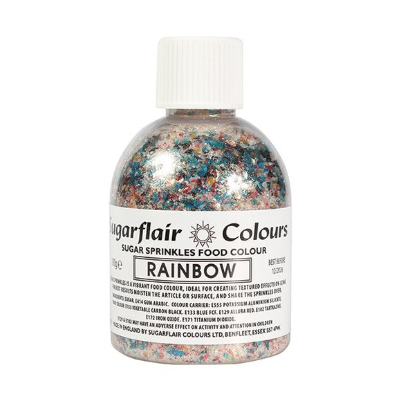 Sugarflair Rainbow Sparkle Sugar Shaker Edible Colourful Sprinkle - 100g