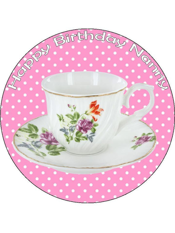 Tea Cup Saucer pink Personalised Edible Cake Topper Round Icing Sheet