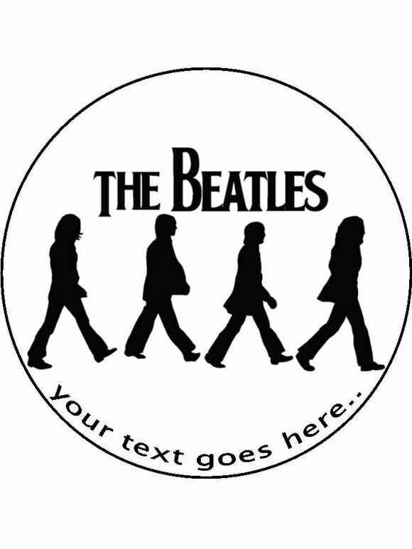 The beatles crossing Personalised Edible Cake Topper Round Icing Sheet